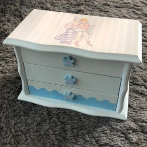 Baby Blue Striped Flower Ballerina Kid Jewelry Box